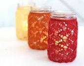 Set of 3 Quart Size Knit, Lace Mason Jar Lantern, Wedding Decor, Indian Summer, Moroccan Decor, Wedding Lantern