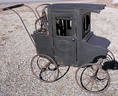 Antique Victorian Amish Horse Buggy Wooden Painted Fancy Doll Baby Carriage.