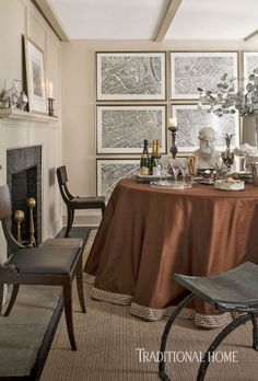 Matthew Patrick Smyth - Traditional Home    Decorating for Christmas need not be red and green. A beautiful chocolate brown silk table ski...