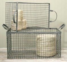 Set of two galvanized baskets that nest. Small basket measures long including handles, wide and deep. Large basket measures long including handles, wide and deep. You will receive one of each basket pictured. Wire Wall Basket, Metal Baskets, Large Baskets, Baskets On Wall, Rustic Decor, Farmhouse Decor, Farmhouse Style, Painted Fox Home, Hanging Beds