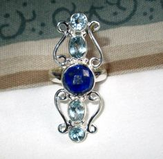 RING - LAPIS - Blue TOPAZ  - Elongated - Sterling Silver - size 8 blue302 by MOONCHILD111 on Etsy