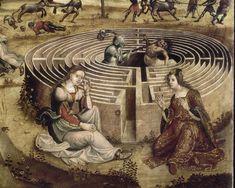 La légende crétoise / Thésée et le Minotaure,, détail Labyrinthe, by Maître des Cassoni Campana, c. 1500-1525. Fascinating work.