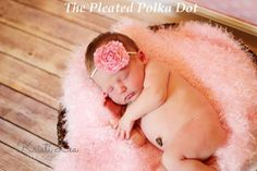Pink Shabby Rose Flower HeadbandBaby by ThePleatedPolkaDot on Etsy, $6.00