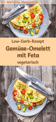 Low Carb Gemüse-Omelett mit Feta - gesundes, vegetarisches Hauptgericht Low-carb recipe for vegetable omelet with feta - vegetarian dinner or lunch, low-calorie, low-calorie, healthy and ideal for losing weight carb lunch Abendessen Rezepte No Calorie Foods, Low Calorie Recipes, Healthy Dinner Recipes, Vegetarian Recipes, Lunch Recipes, Vegan Meals, Vegan Dishes, Pasta Recipes, Chicken Recipes