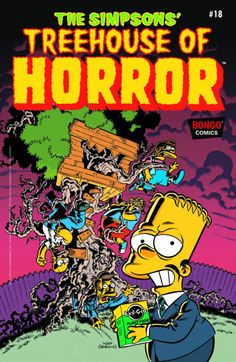 Bart Simpson's Treehouse of Horror - Eerie Beery; One Bart and Stormy Knight; The Bride! Simpsons Characters, Simpsons Art, Simpsons Cartoon, Horror Posters, Horror Comics, Comic Book Covers, Comic Books, Simpsons Halloween, Simpsons Treehouse Of Horror