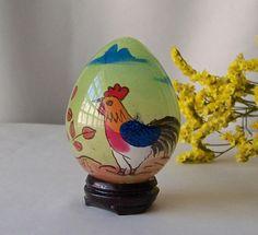 Vintage Glass Egg Églomisé Hand Painted Chick Easter Egg Gift