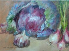 """Daily Paintworks - """"Red Cabbage"""" - Original Fine Art for Sale - © Lina Ferrara"""