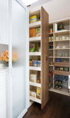 """Wonder if we could tear out the teensy, dark """"pantry"""" closet and replace it with two of these roll-out shelves? by transFORM 