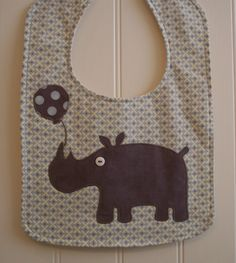 Bib, baby boy bib, unique handmade baby gift, adorable homemade rhino applique, designer fabric, three absorbent layers.
