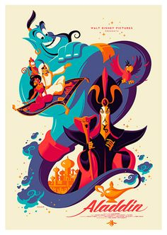 Aladdin Movie Poster, available at 45x32cm. This poster is printed on matt coated 350 gram paper.