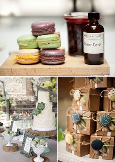 Macarons para bodas de estilo rustico