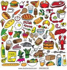 Find food doodles set stock vectors and royalty free photos in HD. Explore millions of stock photos, images, illustrations, and vectors in the Shutterstock creative collection. Cute Food Drawings, Kawaii Drawings, Doodle Drawings, Doodle Art, Simple Doodles, Cute Doodles, Bullet Journal Ideas Pages, Bullet Journal Inspiration, Food Doodles