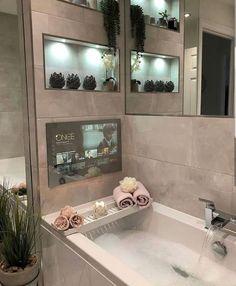 Tv In Bathroom, Dream Bathrooms, Bathroom Ideas, Spa Bathroom Decor, Spa Bathrooms, Spa Inspired Bathroom, Luxurious Bathrooms, Bathroom Goals, White Bathroom