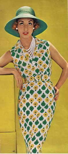 1959 vintage fashion 50s 60s sheath dress day casual floral print belt hat sleeveless button front model magazine print ad