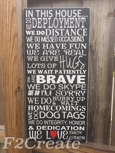 In This House We Do Deployments, Military signs, army, navy, marine, air force,  wall decor