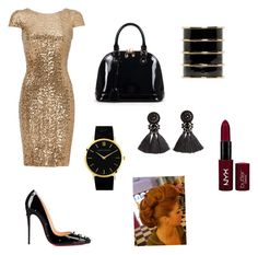 """""""Untitled #21"""" by ashlijoy on Polyvore featuring Badgley Mischka, Christian Louboutin, Relaxfeel, Larsson & Jennings, H&M, Balmain and NYX"""