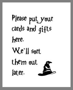 c1cb344f140 PRINTABLE 8x10 Harry Potter Please Put Your Cards   Gifts Here