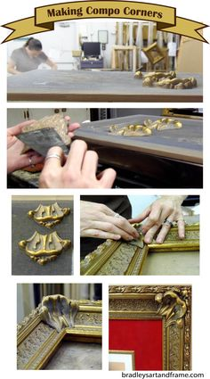 Ever wonder about those fancy frame corner embellishments known as compo corners? Well, here's how we do it! They are hand molded, heated over a hot plate and then hand painted. Talk about a hands on approach to custom framing!