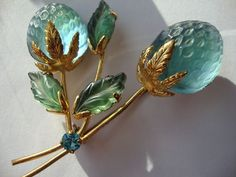 Vintage Austria Double Glass Blue Strawberry Goldtone Brooch/Pin Signed  $ 40.00