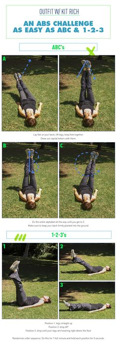 Friday Workout: An Abs Challenge As Easy as ABC and 1-2-3. Draw the entire alphabet in the air with your feet together. Lower case and Upper case for a great ab workout.