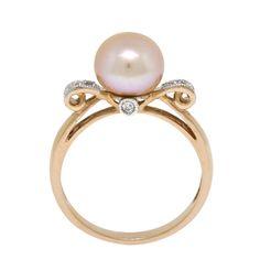 Pink Freshwater Cultured Pearl & Diamond Ring 14K - 10622876.jpg