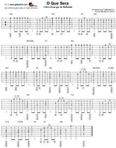 O Que Sera - fingerstyle guitar tablature