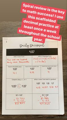 Daily Decimal: 50 Scaffolded Decimal Practice Pages Teaching Decimals, Rounding Decimals, Math Fractions, Teaching Math, Dividing Fractions, Equivalent Fractions, Maths, Teaching Place Values, Teaching Numbers