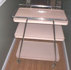 MID CENTURY MODERN 3 TIER COSCO KITCHEN TEA UTILITY CART SERVING TRAY VINTAGE