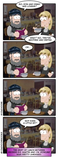 GRRM's awkward lunch with JKR.