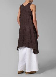 MISSY Clothing - Linen Sleeveless A-shaped Long Blouse