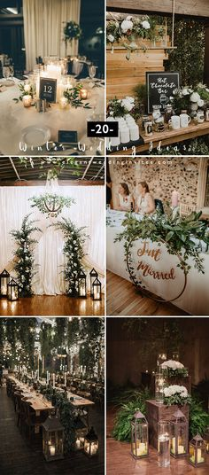 20 Greenery Filled Winter Wedding Ideas to Inspire - - 20 Greenery Filled Winter Wedding Ideas to Inspire Greenery Wedding romantic cozy rustic chic greenery winter wedding decoration ideas Wedding Reception Ideas, Romantic Wedding Decor, Spring Wedding Decorations, Fall Wedding, Wedding Venues, Wedding Planning, Dream Wedding, Wedding Rustic, Vintage Diy Wedding Decor