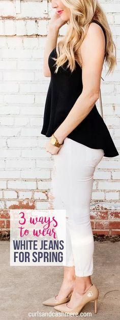3 Ways to Wear White Jeans for Spring, spring outfit ideas, white denim, peplum top, spring fashion