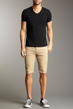 Men's Black V-neck T-shirt, Tan Shorts, and Black and White Canvas Low Top Sneakers