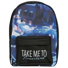 Disney Peter Pan Neverland Backpack | Hot Topic ($24) ❤ liked on Polyvore featuring bags, backpacks, black rucksack, print backpacks, backpacks bags, black backpack and disney backpack