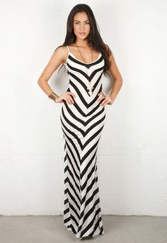 Emerson Thorpe Bias Striped Long Dress in 2 colors   # Pin++ for Pinterest #