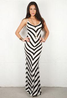 Emerson Thorpe Bias Striped Long Dress