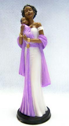 purple lady figurines thomas kinkade | Details about Angel in Purple w/ Baby-UnitedTre asures Ebony Treasure