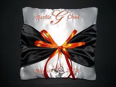 Personalized Wedding Ring Bearer Pillow Harley Davidson Colors Initials or Names in Home & Garden, Wedding Supplies, Ring Pillows & Flower Baskets Harley Davidson Wedding Rings, Ring Bearer Pillows, Ring Pillows, Motorcycle Wedding, Heart Wedding Rings, April Wedding, Orange Wedding, Gold Wedding, Wedding Pillows