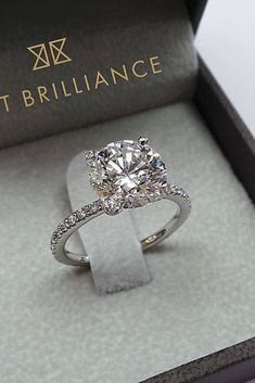 30 The Most Beautiful Gold Engagement Rings ❤️ gold engagement rings pave band round cut diamond pave band ❤️ See more: http://www.weddingforward.com/gold-engagement-rings/ #weddingforward #wedding #bride #engagementrings #goldengagementrings
