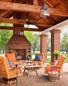 Outdoor Fireplace Designs, Backyard Fireplace, Backyard Patio, Fireplace Ideas, Brick Fireplace, Outdoor Fireplaces, Cozy Patio, Outdoor Fireplace Plans, Simple Fireplace
