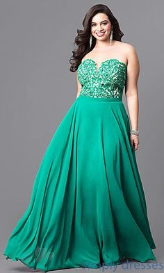 Lace Bodice Long Emerald Green Plus-Size Prom Dress