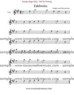 Free Violin Sheet Music - Edelweiss