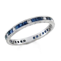 BF1324 - #21305  18k white, diamond ring 0.20ct. rounds 1.30ct. saphire