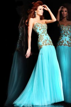 2013 Prom Dresses Mermaid Sweetheart Sweep/Brush Organza With Applique USD 153.00 PHAGNYYL