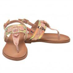 f47f6e0874d5 Girls Pink Glitter Buckle Stud Decorated Thong Strap Sandals 11-4 Kids Pink  Glitter