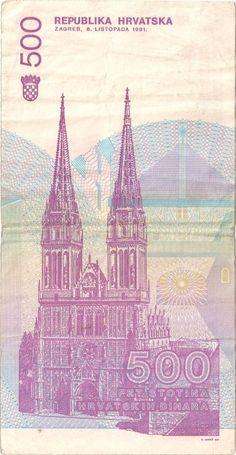 Wertseite: Geldschein-Europa-Mitteleuropa-Kroatien-Dinar-500-1991