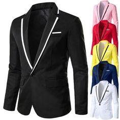 Men's Casual Solid Business Suit Jacket Wedding Party Outwear Thin Slim Coat US Mens Suit Coats, Mens Suits, Stylish Men, Men Casual, Mens Fashion Blazer, Men's Fashion, Blazer Price, Party Jackets, Blazers