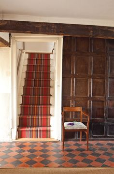 Roger Oates Runner - Chatham Turkey Red Black and Red Tiled Hallway
