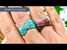 Twist ring tutorial, Even Count Peyote Stitch. In this tutorial, you will learn to make this lovely peyote stitch ring with twisted focal. From materials you will need: 110 Delica beads grams for main colour (For black ring I used for blue ring Native Beading Patterns, Peyote Beading Patterns, Peyote Stitch Patterns, Bead Loom Patterns, Beaded Jewelry Patterns, Loom Beading, Bead Jewelry, Weaving Patterns, Bead Earrings