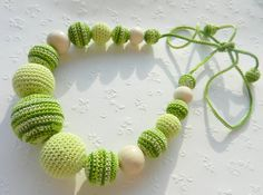 Nursing necklace, Teething necklace, cotton breastfeeding necklace, Green, Breastfeeding necklace, Eco toy,  Eco Friendly on Etsy, $20.72 AUD